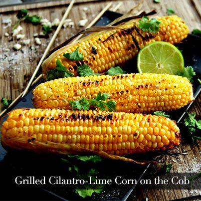 Grilled Cilantro-Lime Corn on the Cob - Soak 12 ears of corn in warm ...