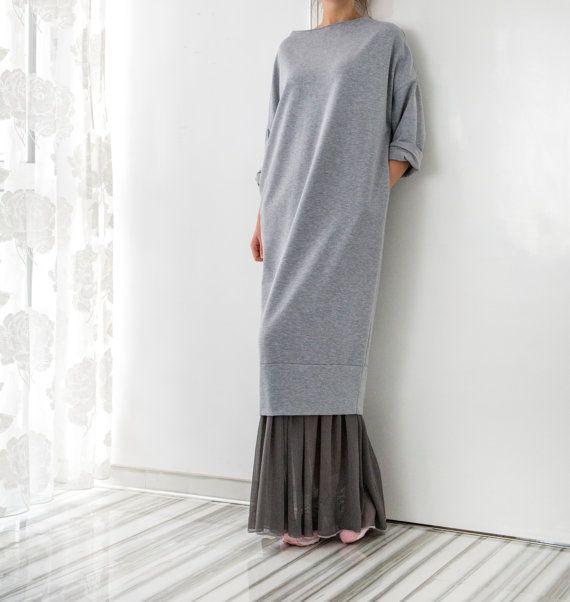 Grey Maxi Dress, Jumper dress, Plus size dress, Fall Winter dress, Oversized dress, Casual dress, Day dress, Midi dress