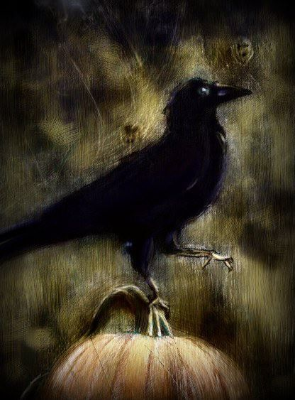 black crow bird orange pumpkin tan painting - Halloween Crows
