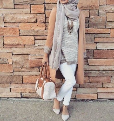 neutral hijab outfit, Hijab trends from the street http://www.justtrendygirls.com/hijab-trends-from-the-street/