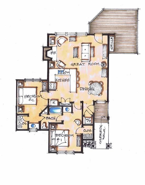 Baby Bear Main Floor - Natural Element Homes.  I could possibly dig this 2 bed 1 bath floor plan.  Would want to build an arched wall or have my hanging herb garden between the kitchen and great room as a buffer