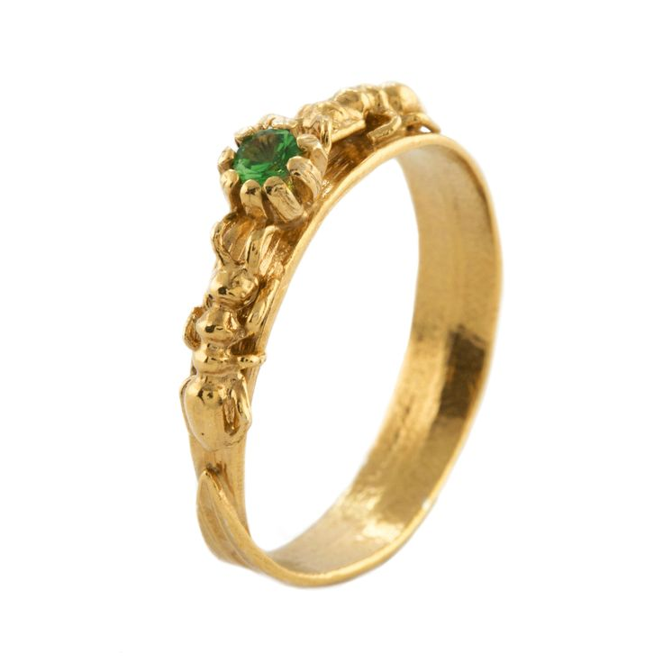 Awesome Wood Ant u Tsavorite Grassblade Ring Gold Plate