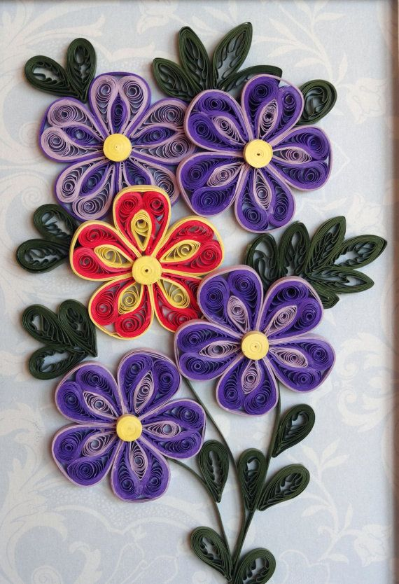 Part 1 of 2---Quilling PurpleOrangeYellow Flowers by QuillingByBetty on Etsy
