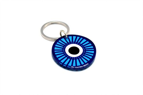 Blue evil eye | two sided plexiglass keychain | screenprinted & lazer cutted | designed and made in Greece