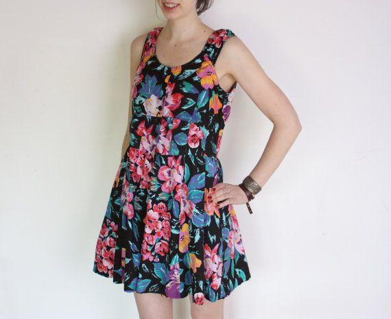 90's floral playsuit summer romper / jumpsuit by WoodhouseStudios, $43.00