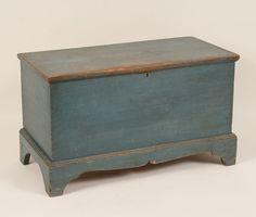Primitive blanket box / chest with blue milk paint;