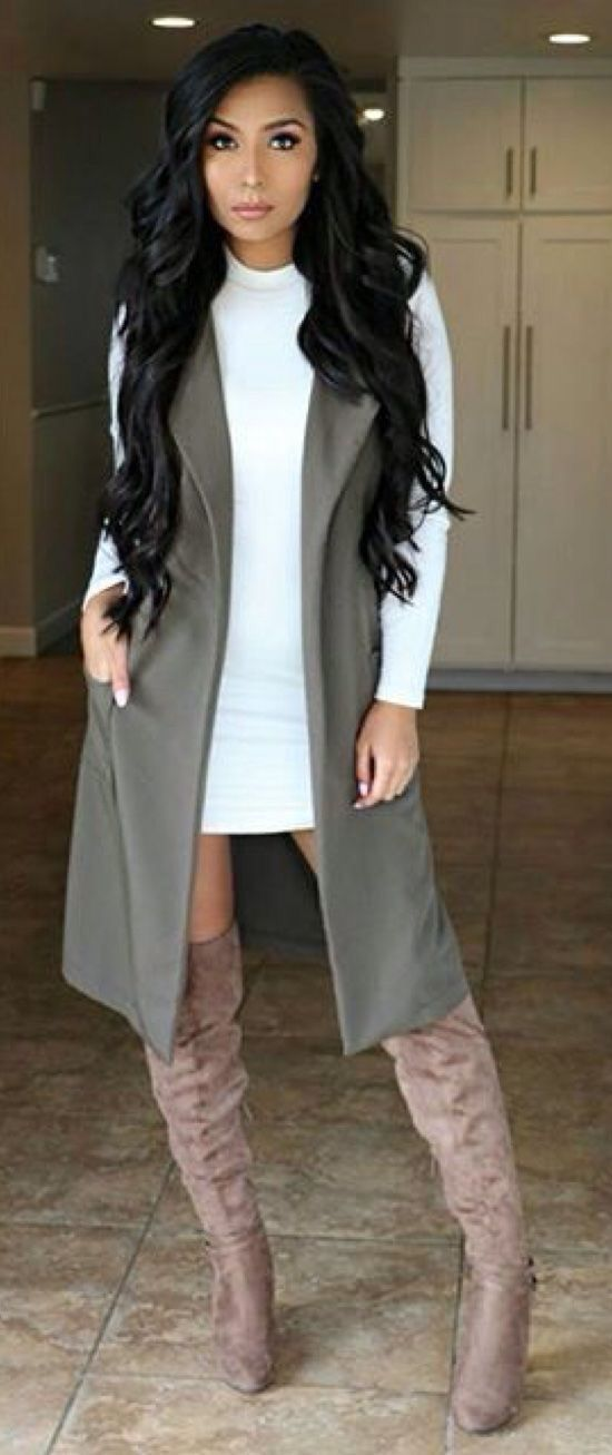 love this outfit!!! sexy sophisticated. have the boots and the dress just need the vest