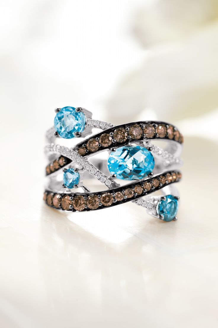 Le Vian® Blue Topaz Ring With Chocolate Diamonds® And Vanilla Diamonds™  #belk125
