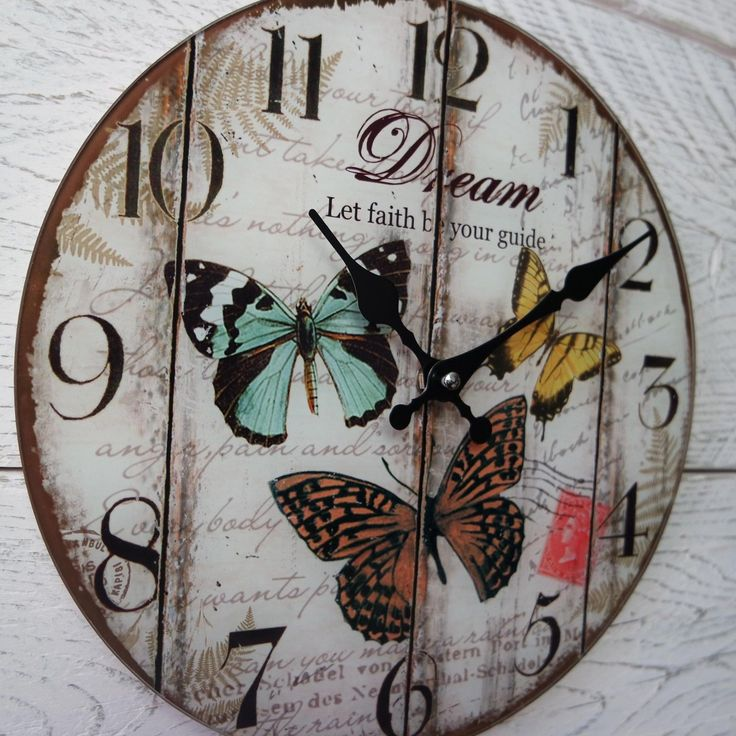 Shabby Chic Rustic Vintage Round Cream Butterfly DREAM Faith Glass Wall Clock | eBay