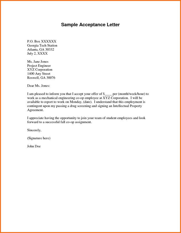 volunteer appointment letter sample university Home Design Idea - offer acceptance letter