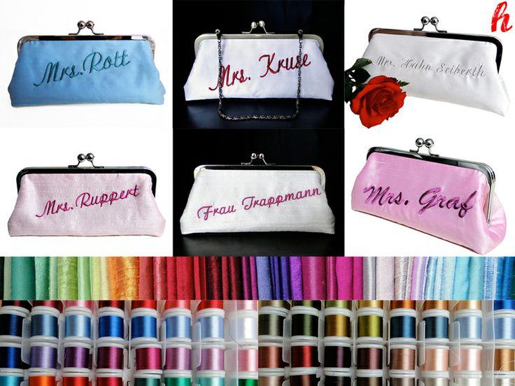 Die Vorher-Nachher-Tasche. Nach der Trauung wird die Tasche umgedreht und der neue Name erscheint. Die Tasche wird einseitig mit Ihrem Wunschtext...