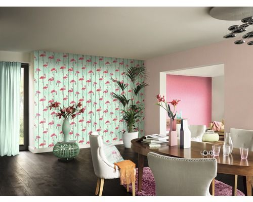 Vliestapete Barbara Becker Miami Style b.b 5 Holzptik mit Flamingo bei HORNBACH kaufen