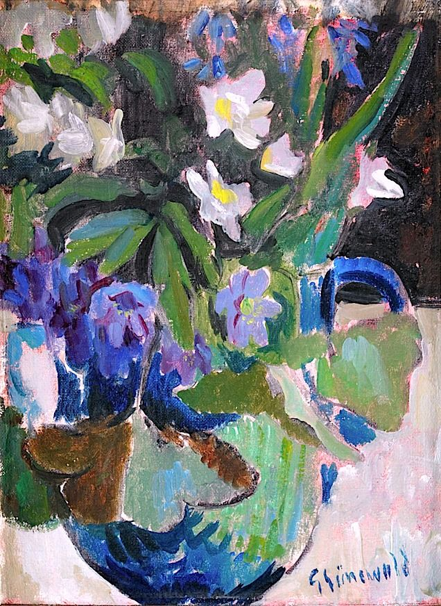 bofransson:    ISAAC GRÜNEWALD 1889-1946 Still-Life with blue and white wood anemones