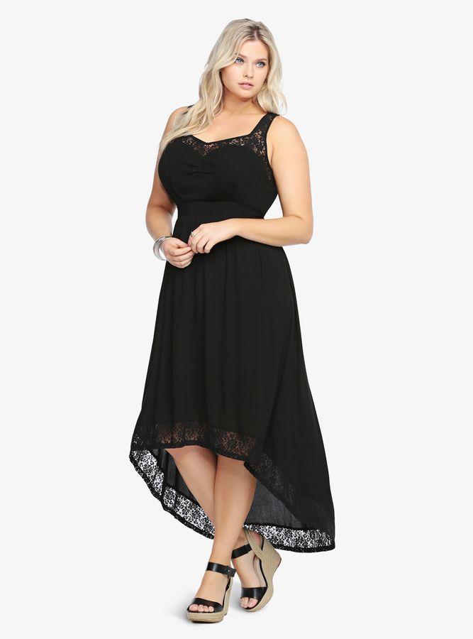 Plus Size Torrid Lace Inset Hi-Lo Maxi Dress