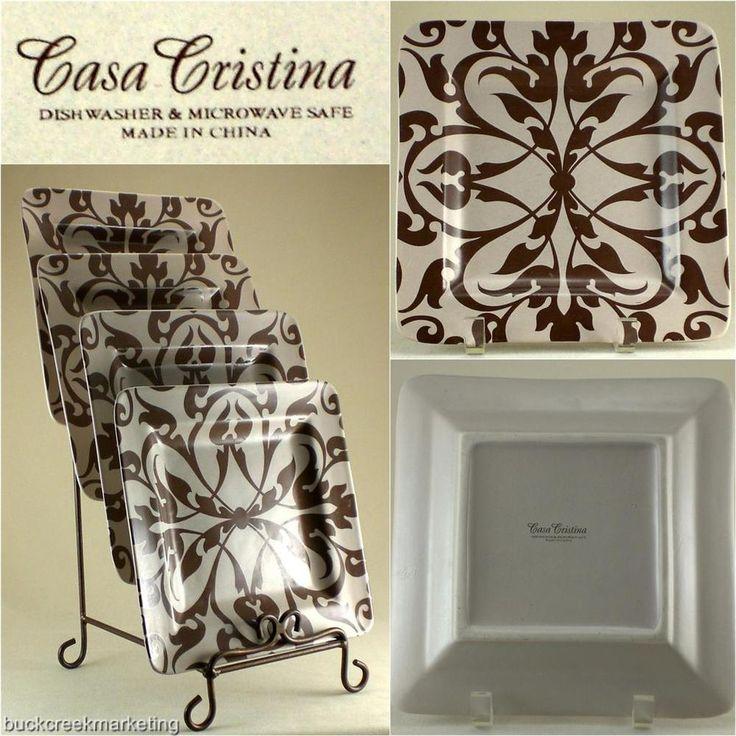4 Salad Dessert Plate Set Casa Cristina Cacao Tan Brown Geometric Stoneware #CasaCristina