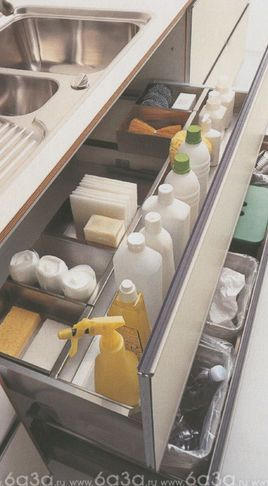 Store dish washing liquid and sponges in a drawer under the sink
