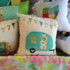 Handmade Vintage Camper Pillow. Polka Dot by FrecklesJewelry