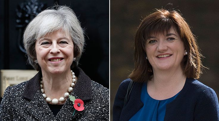 Britain's Prime Minister Theresa May (L), British Education Secretary Nicky Morgan (R). © Reuters