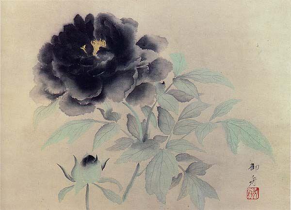 Gyoshu Hayami(速水御舟 Japanese, 1894-1935) Black Peonies 牡丹花(黒牡丹) 1934