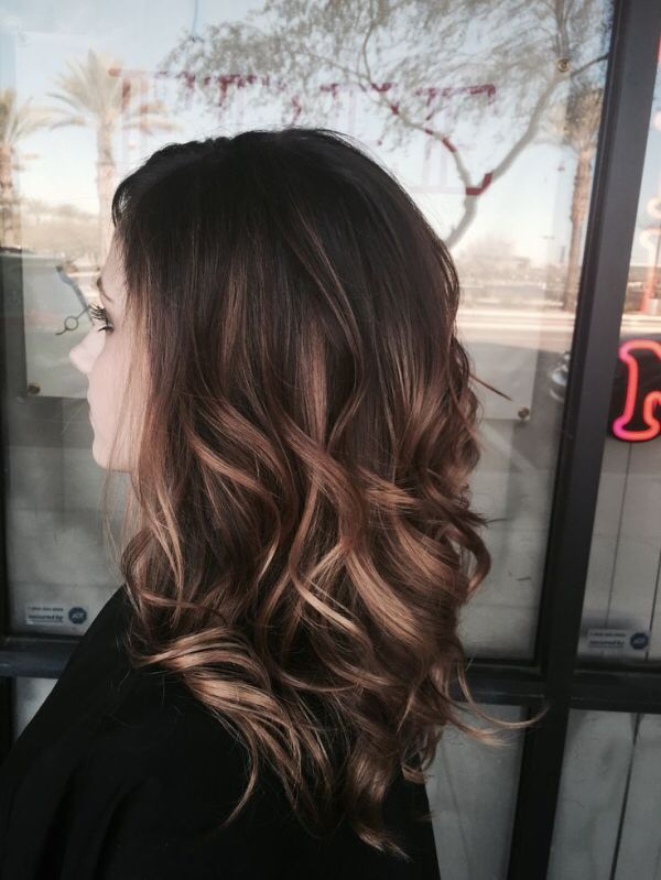 brunette lob medium length balayage