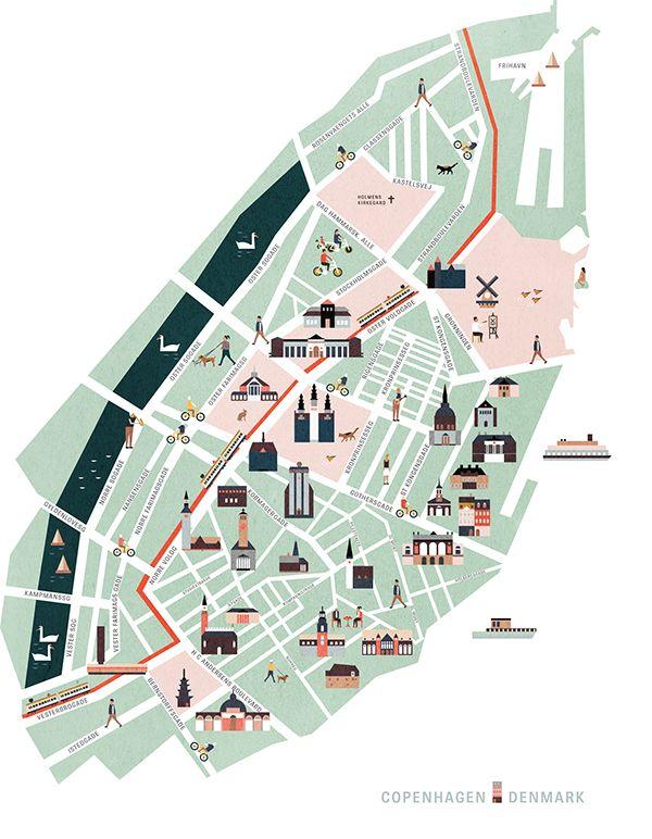 Vector map of Copenhagen https://www.behance.net/gallery/20232947/Copenhagen-map-illustration-