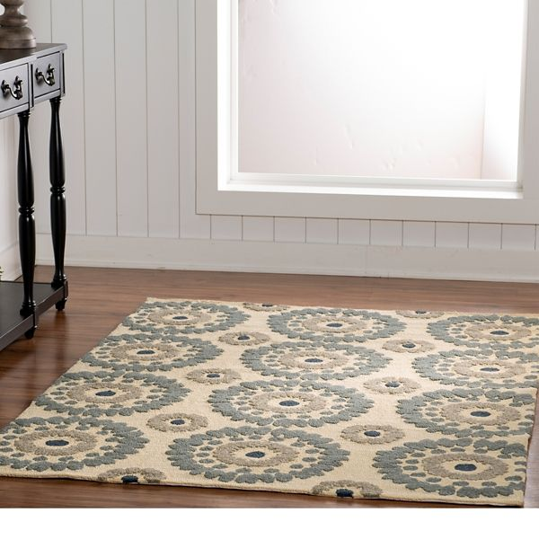 Ivory Floral Loralae Indoor Outdoor Area Rug 5x7 In 2020 Indoor