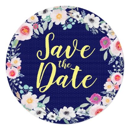 Floral Wedding Save The Date Card - spring wedding diy marriage customize personalize couple idea individuel