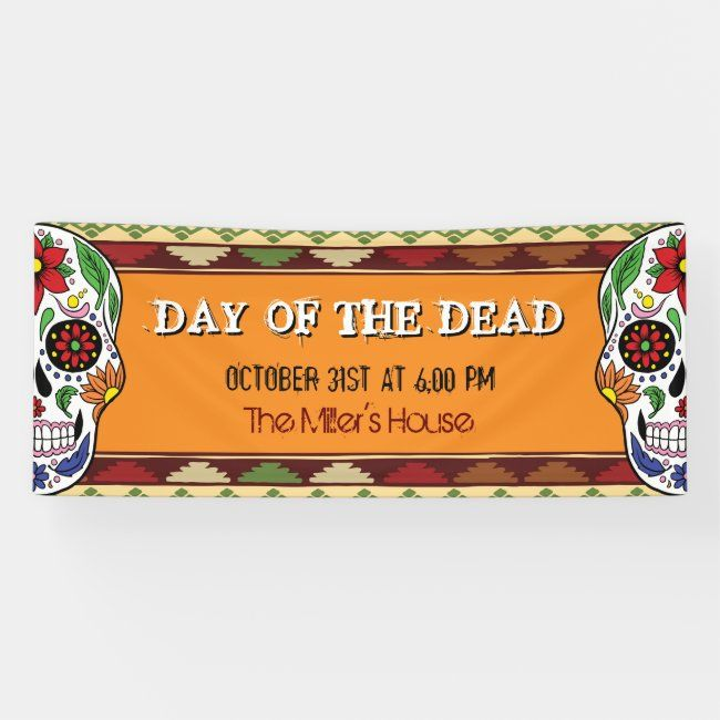 Mexican Halloween Day Of The Dead 2020 Mexican Halloween Day of the Dead Sugar Skull Banner | Zazzle.