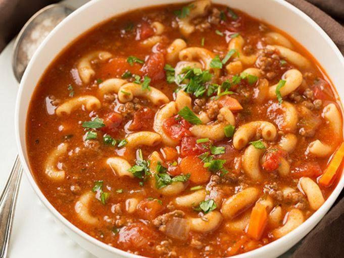 Awesome Beef and Tomato Macaroni Soup