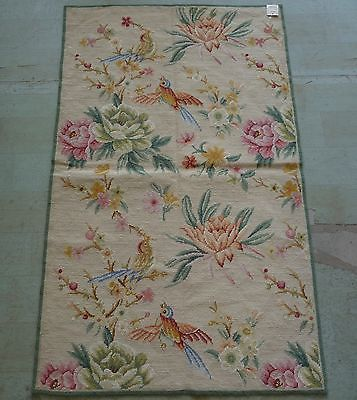 """2'6""""x4' Handmade Floral Roses Birds Wool Needlepoint Area Rug~New~Free Shipping"""