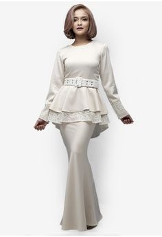 Royal Star Modern Peplum Kurung from Emel by Melinda Looi in beige_1