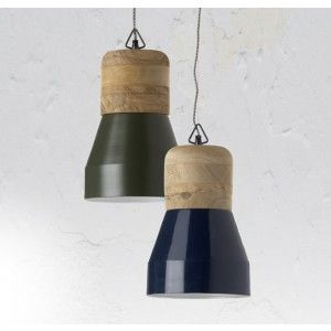 ZAMIA Type Pendant Light Material Colour Natural Mango Wood With Blue