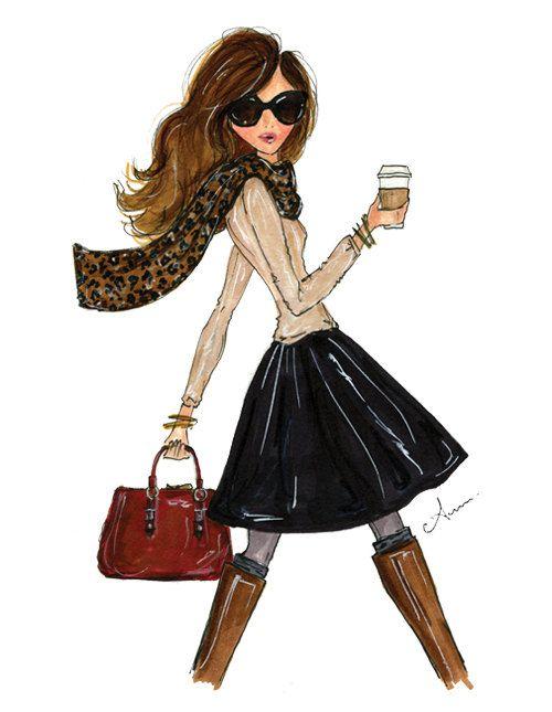 Grabado de ilustración de moda, la chica caída