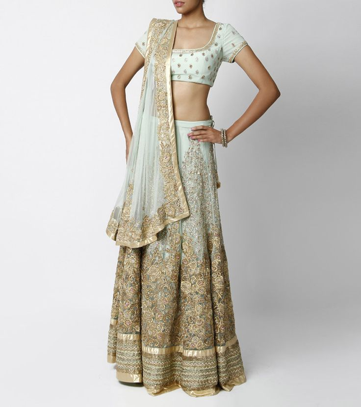Mint green net lehenga six yards and the works for Mint and gold wedding dress