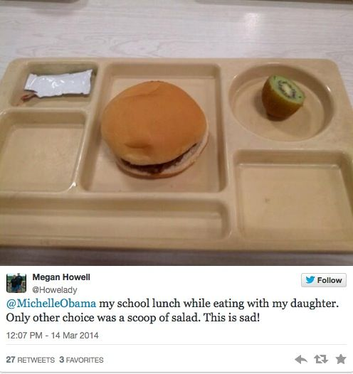 THIS IS WHY KIDS ARE FED UP WITH MICHELLE'S OBAMA'S LUNCH PROGRAM THE ONLY OTHER CHOICE HERE WAS A SCOOP OF SALAD. HOW SAD IS THIS???