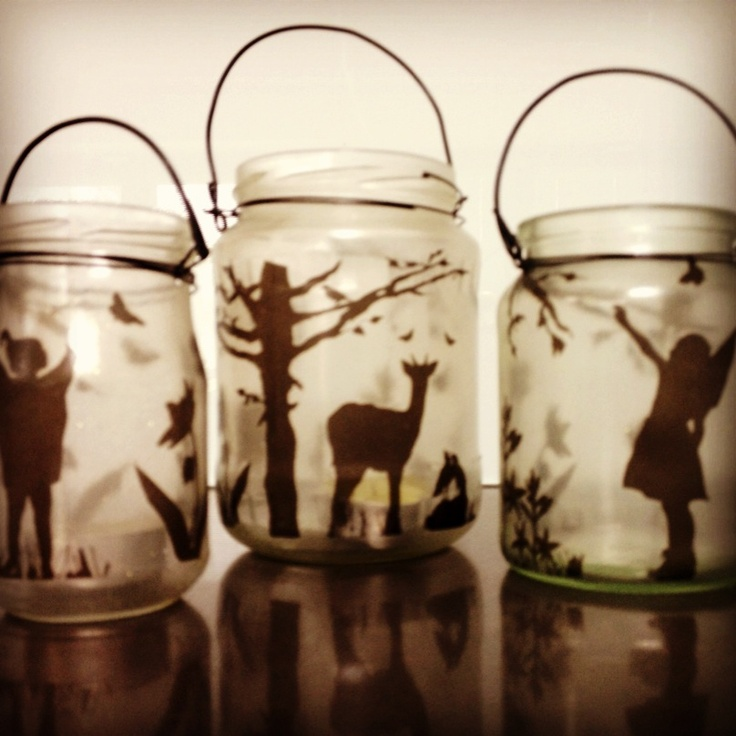 Glass etched recycled glass jar lanterns