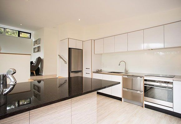 Mitsubishi Electric Stainless Steel Multi Drawer Fridge shown in award winning holiday home. Nelson, NZ.