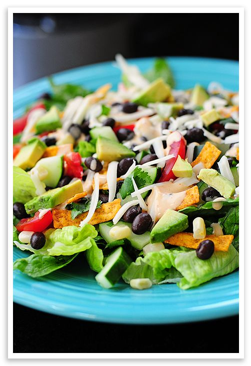 Black Bean Taco Salad -- I add spicy chicken or ground beef