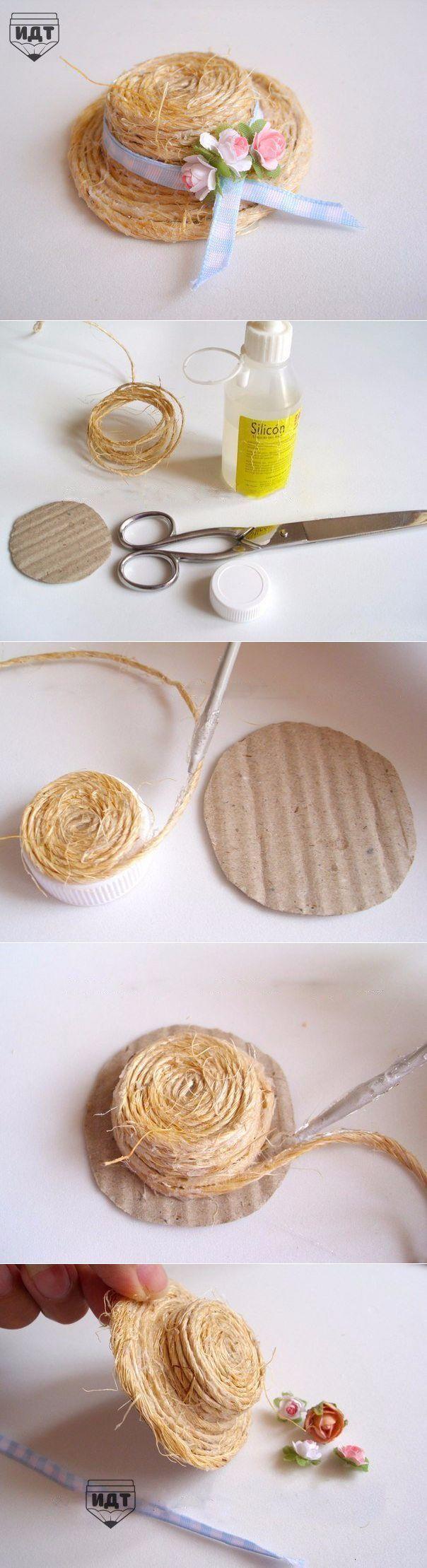 Декоративная соломенная шляпа для куклы своими руками