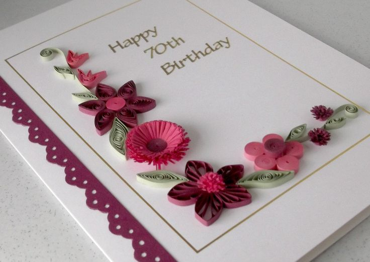 Quilled 70th birthday card, can be for any age. £6.00, via Etsy.