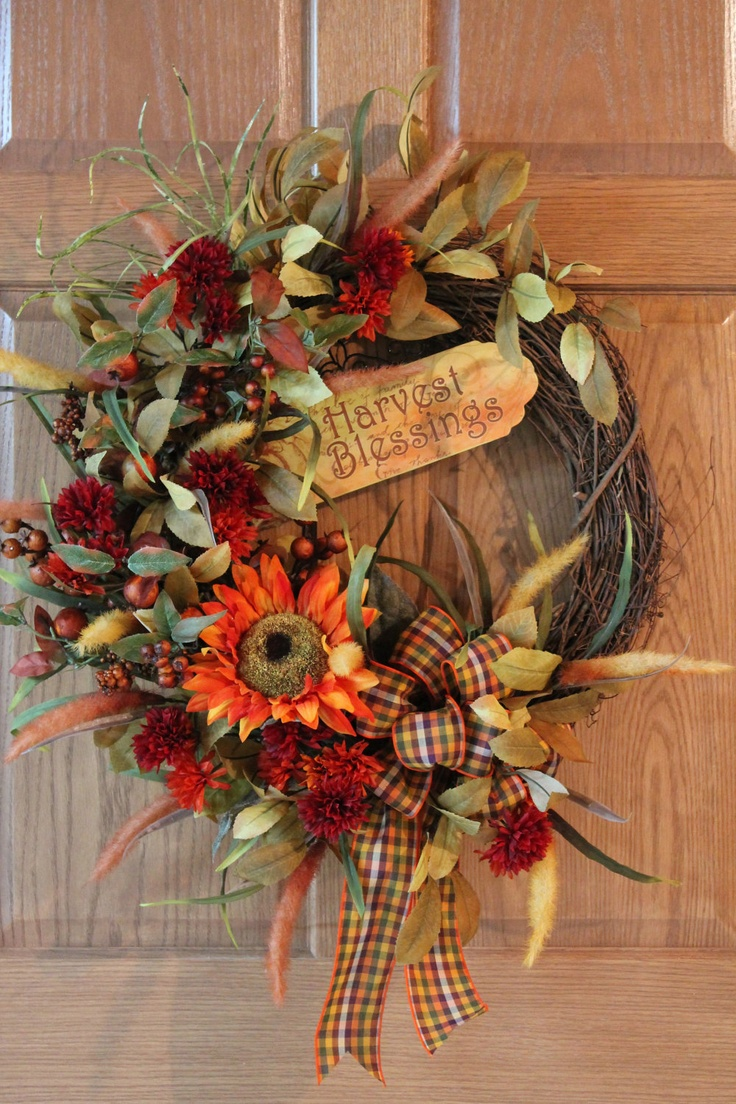 Harvest Blessings, Front Door Wreath, Large Orange Sunflowers and Mums -- FREE SHIPPING. $139.00, via Etsy.