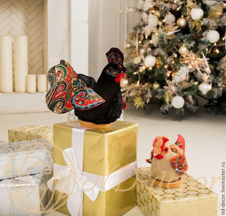 Купить Маленький новогодний черно-красный Петух, текстильный, интерьерный - петух, петушок, петух в подарок