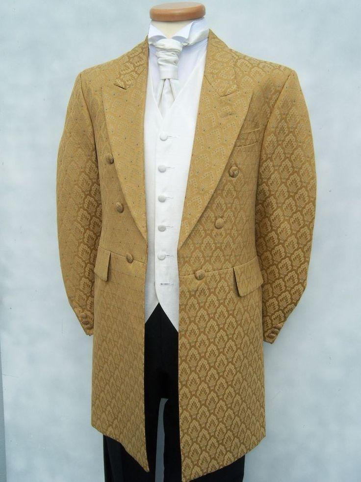 Mens Gold Frockcoat Wedding Dress Suit Frock Coat Coats