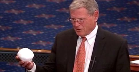 Sen. Jim Inhofe who thinks because it snowed in DC, climate science isn't real, tries to make his point by throwing a snowball on the Senate floor. Al Roker