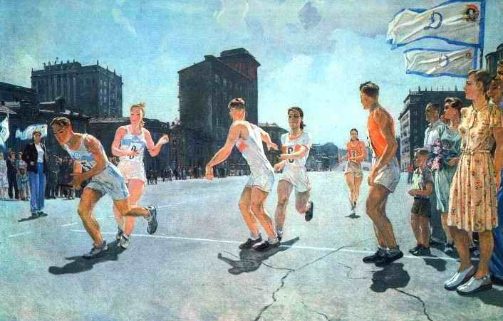 The relay baton round the ring B  1947 year  Oil on canvas  199x299 sm  Moscow. The State Tretyakov Gallery