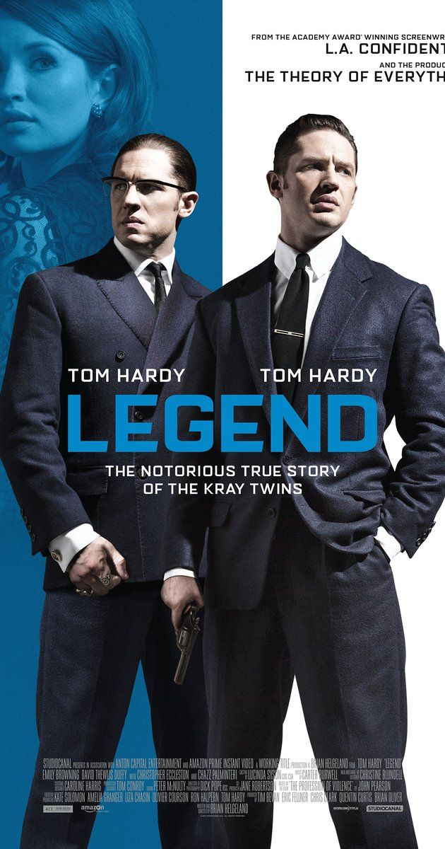 Directed by Brian Helgeland.  With Tom Hardy, Emily Browning, Taron Egerton, Paul Anderson. The film tells the story of the identical twin gangsters Reggie and Ronnie Kray, two of the most notorious criminals in British history, and their organised crime empire in the East End of London during the 1960s.