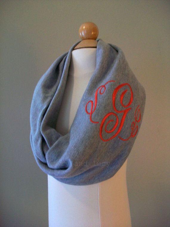monogrammed infinity scarf  heather grey  custom monogram or greek letters on etsy   28 00