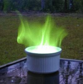 This links to a page showing you how to make coloured fire - for all colours of the rainbow