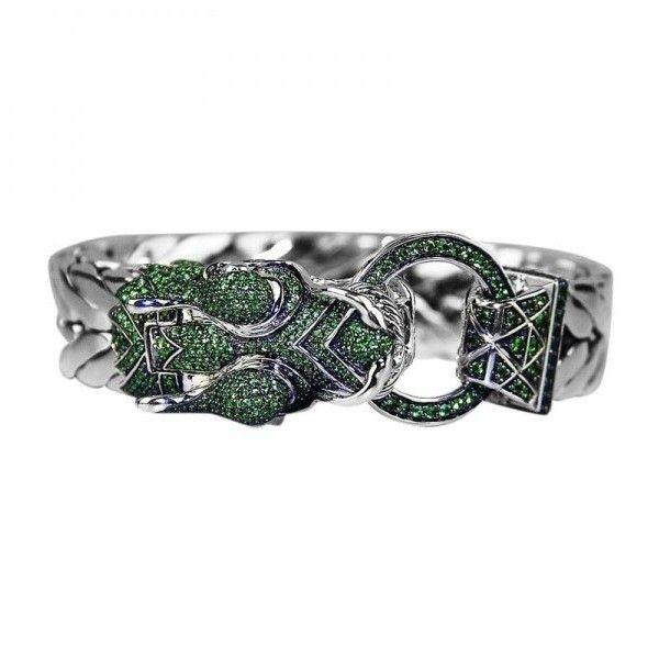 Pre-owned John Hardy Sterling Silver Green Tsavorite Garnet Naga... ($3,750) ❤ liked on Polyvore featuring jewelry, bracelets, wide bangle, john hardy jewelry, green bangles, tsavorite garnet jewelry and preowned jewelry
