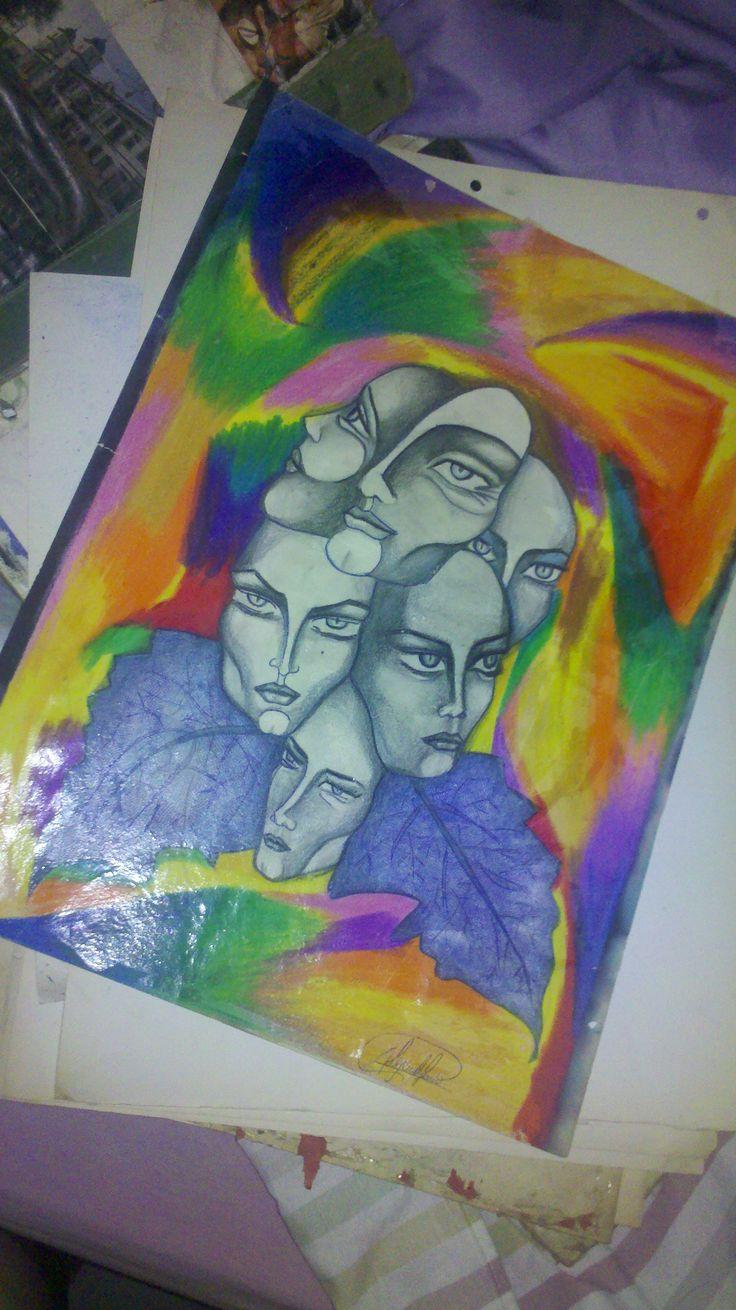 dibujo a lapiz y crayon